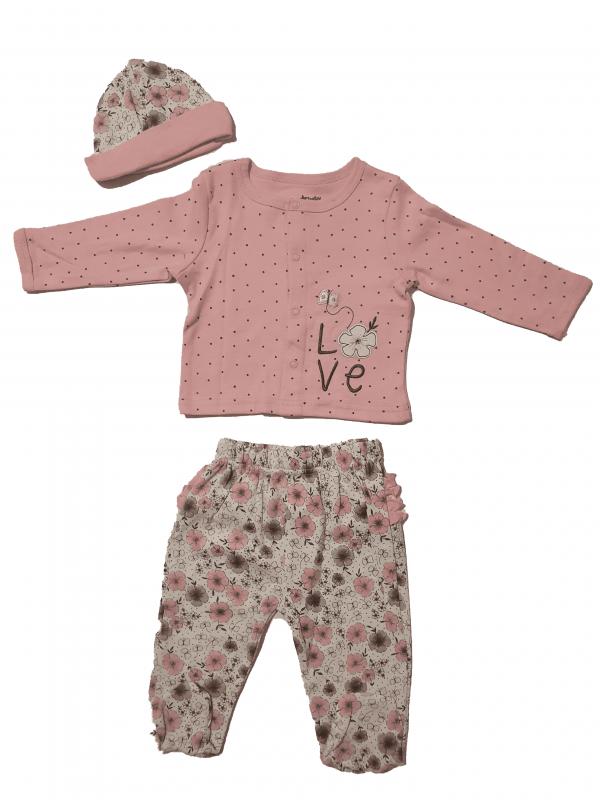חליפת תינוקות ארוכה דקה עם כובע 100% כותנה ורוד