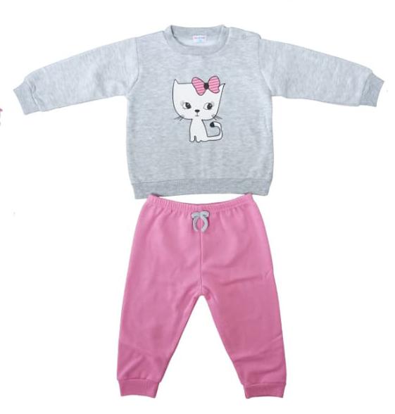 חליפת תינוקות ורוד אפור חתולי 100% כותנה
