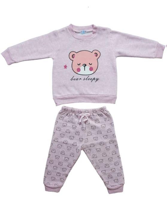 חליפת תינוקות ורוד בהיר דובי 100% כותנה