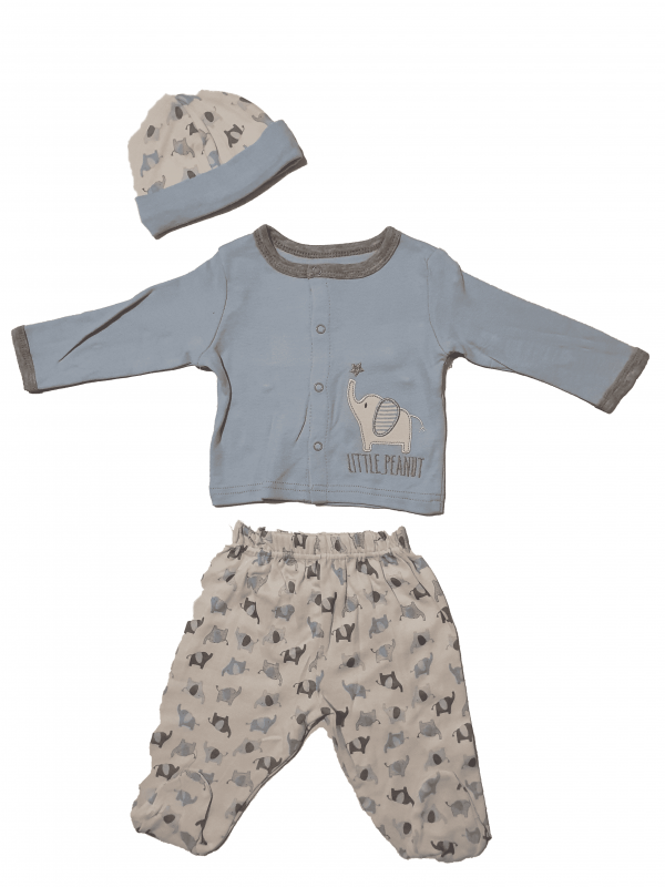 חליפת תינוקות ארוכה דקה עם כובע 100% כותנה תכלת לבן