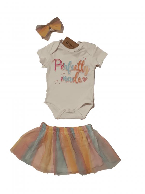 חליפת חצאית+בגד גוף וסרט צבעוני