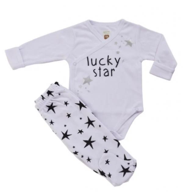 חלפיפת תינוקות בגד גוף ורגלית כוכבים