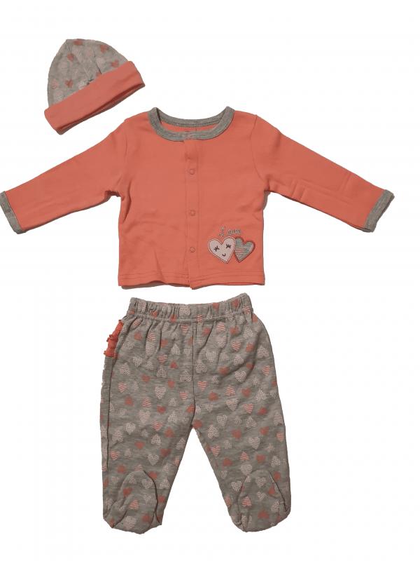 חליפת תינוקות ארוכה דקה עם כובע 100% כותנה