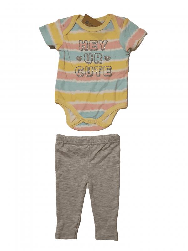 חליפת בייבי צבעוני בגד גוף+ מכנס