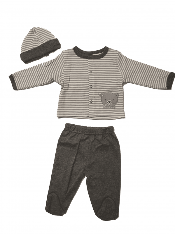 חליפת תינוקות ארוכה דקה עם כובע אפור לבן 100% כותנה