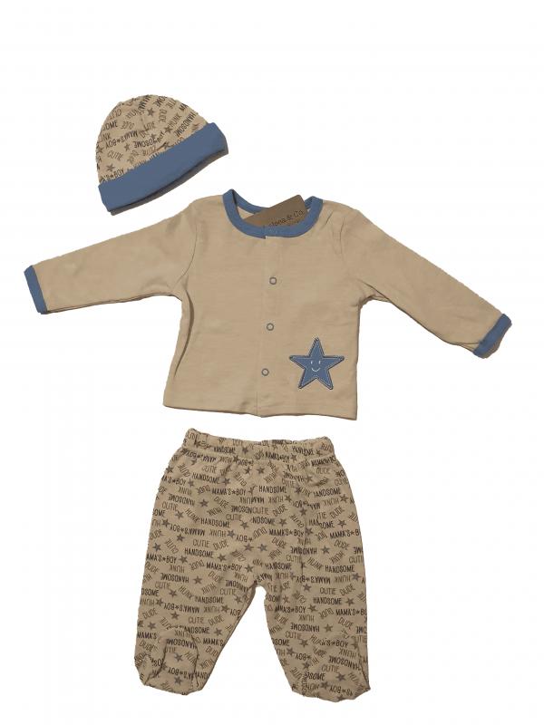 חליפת תינוקות כחול ארוכה דקה עם כובע 100% כותנה