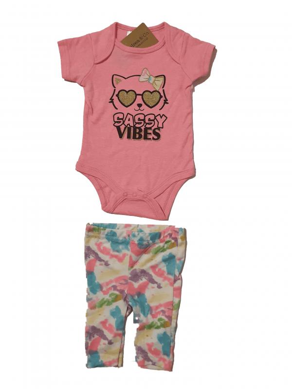 חליפת בייבי צבעוני בנות בגד גוף+ מכנס