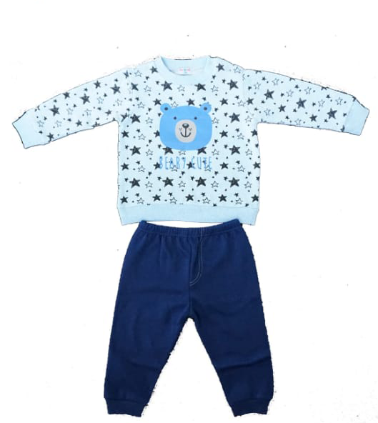 חליפת תינוקות כחול תכלת 100% כותנה