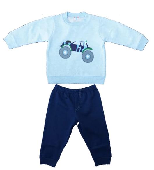 חליפת תינוקות כחול אופניים 100% כותנה
