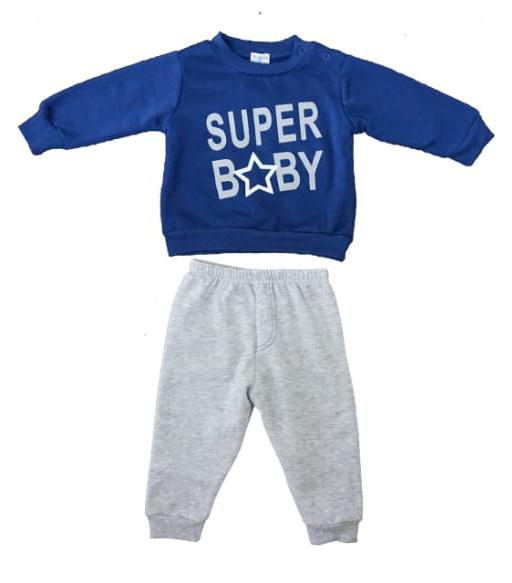 חליפת תינוקות אפור כחול 100% כותנה