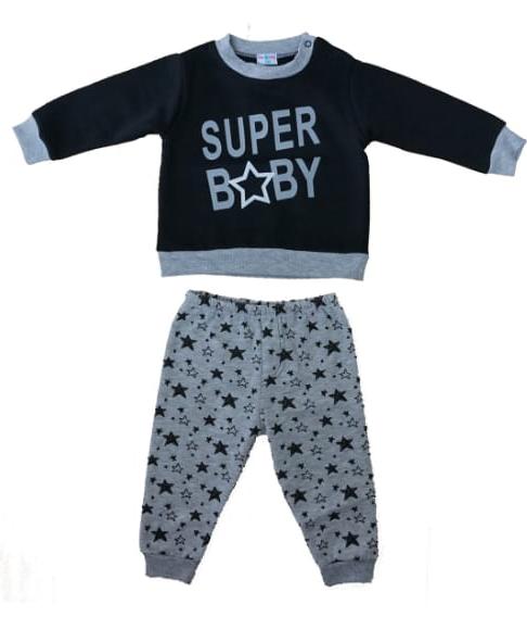 חליפת תינוקות אפור שחור 100% כותנה