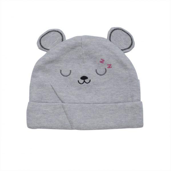 כובע תינוקות טריקו אפור דובי