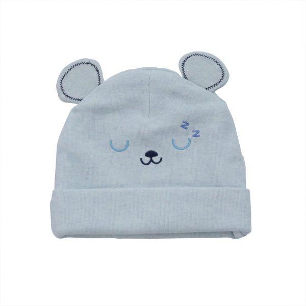 כובע תינוקות טריקו דובי תכלת