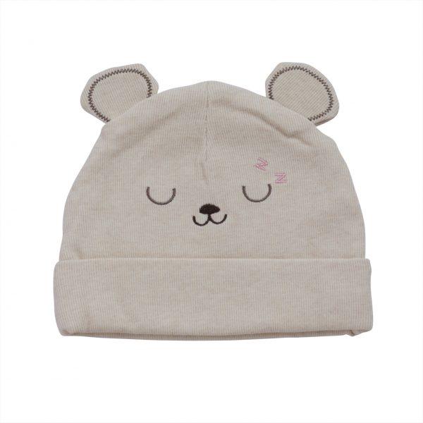 כובע תינוקות טריקו קרם דובי