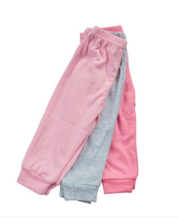 שלישיית מכנסי זחילה ורוד ואפור