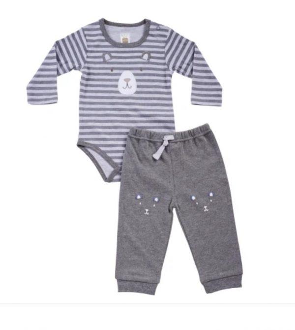 חליפת תינוקות בגד גוף+ מכנס 100% כותנה