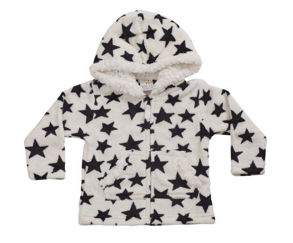 סווטשר פרווה תינוקות נעים שחור לבן כוכבים