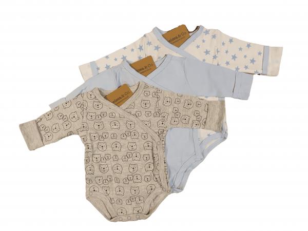 שלישיית בגדי גוף מעטפת אפור דובי ותכלת 100% כותנה