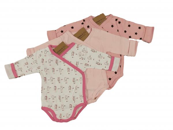 שלישיית בגדי גוף מעטפת ארנבי ורודות 100% כותנה