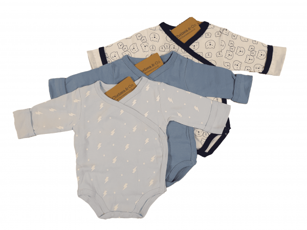 שלישיית בגדי גוף מעטפת תכלת ברקים, כחול ולבן דובי 100% כותנה