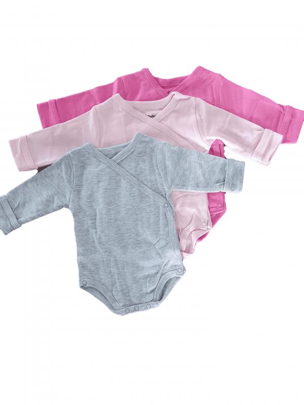 שלישיית בגדי גוף מעטפת חלק לבנות 100% כותנה