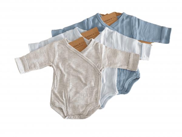 שלישיית בגדי גוף מעטפת חלק 100% כותנה