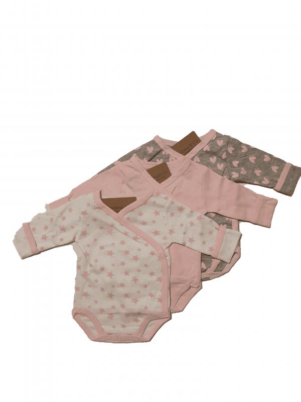 שלישיית בגדי גוף מעטפת  100% כותנה לבנות