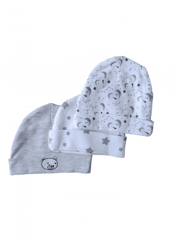 שלישיית כובעי טריקו 100% כותנה אפור ולבן