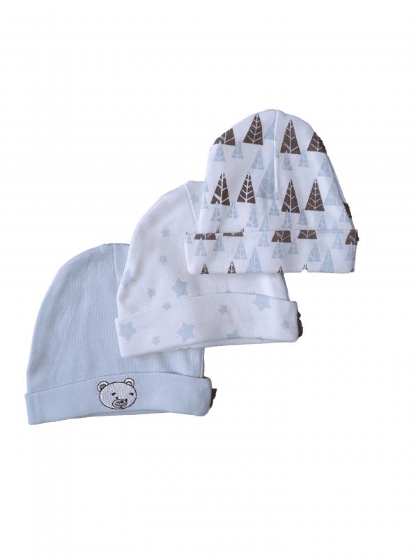 שלישיית כובעי טריקו תינוקות 100% כותנה תכלת