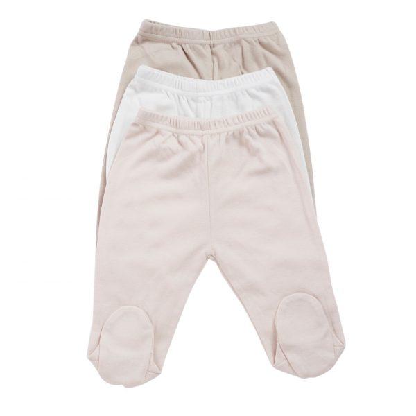 שלישיית מכנסי זחילה ורוד בייבי 100% כותנה
