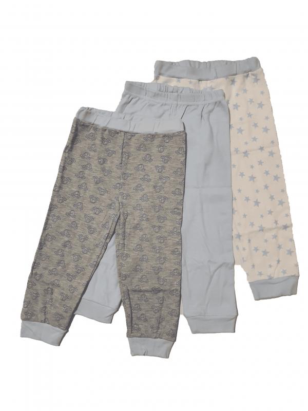 שלישיית מכנסי זחילה תינוקות אפור, לבן ותכלת 100% כותנה