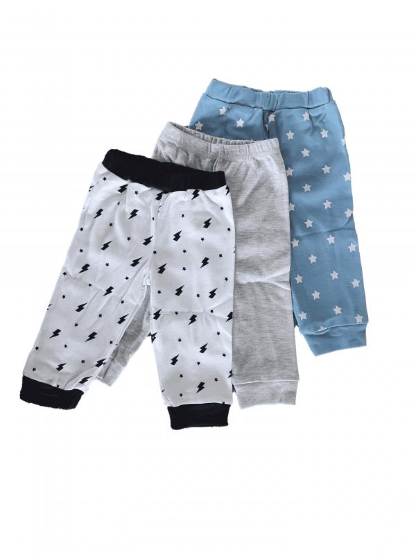שלישיית מכנסי זחילה בנים אפור כחול ולבן  100% כותנה