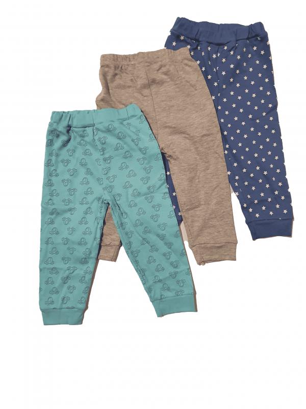 שלישיית מכנסיים טורקיז, אפור וכחול 100% כותנה