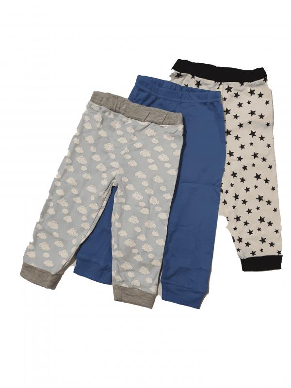 שלישיית מכנסי זחילה תינוקות עננים 100% כותנה