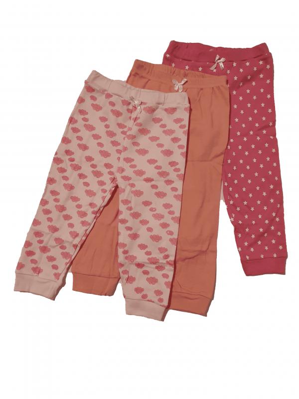 שלישיית מכנסי זחילה ורודות 100% כותנה