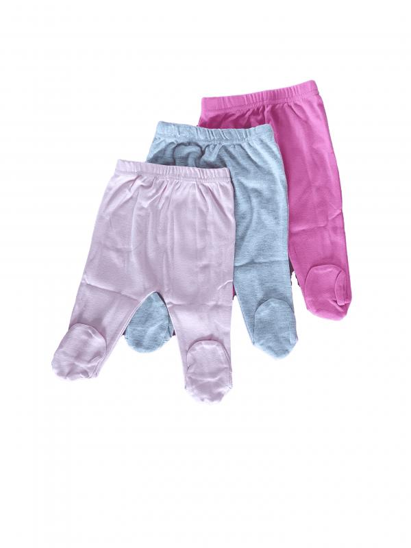שלישיית רגליות צבעוני חלקים 100% כותנה
