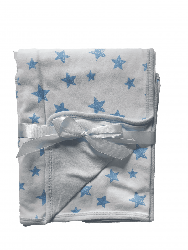 שמיכה דו צדדית תכלת כוכבים כותנה 95*75