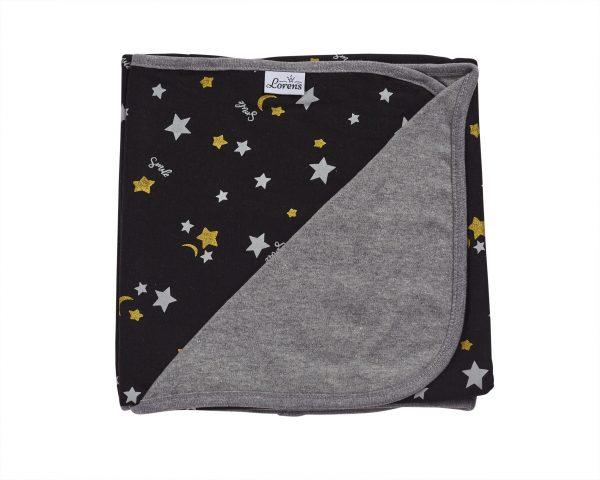 שמיכת תינוקות דקה טריקו שחורה כוכבים 100% כותנה