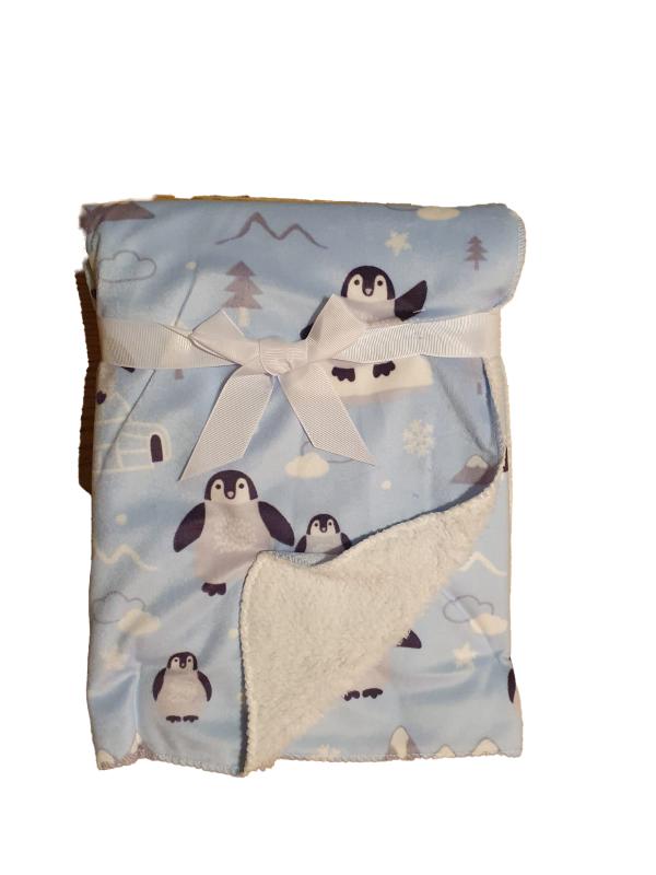 שמיכת פרווה עם כבש פינגווינים תכלת