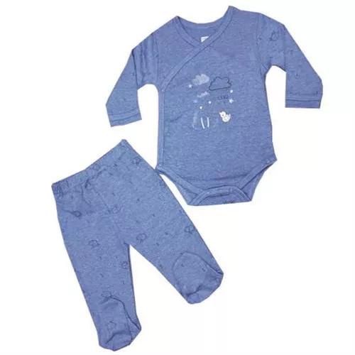 סט בגד גוף מעטפת ורגלית 100% כותנה כחול