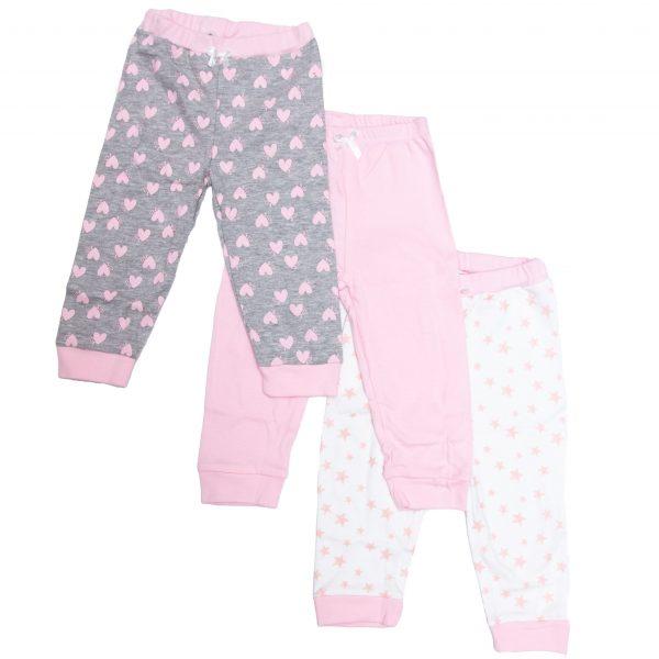 שלישיית מכנסיים לתינוקת 100% כותנה