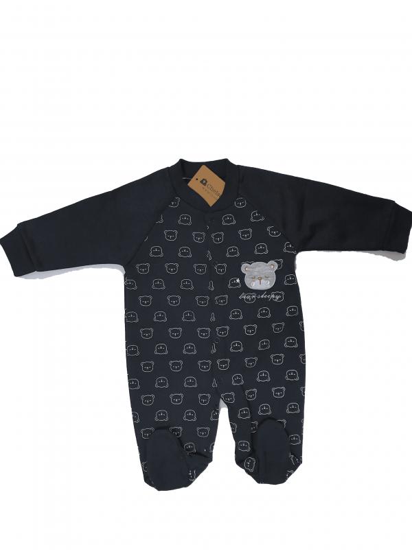 אוברול תינוקות שחור עם דובי