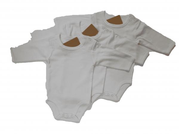 שלישיית בגדי גוף ארוך לבן חלק 100% כותנה