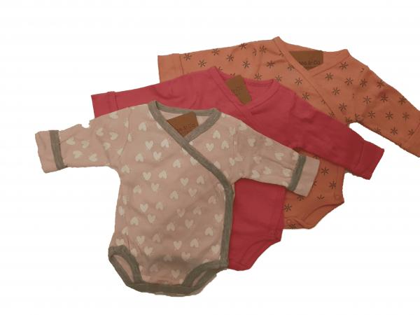 שלישיית בגדי גוף מעטפת בנות 100% כותנה