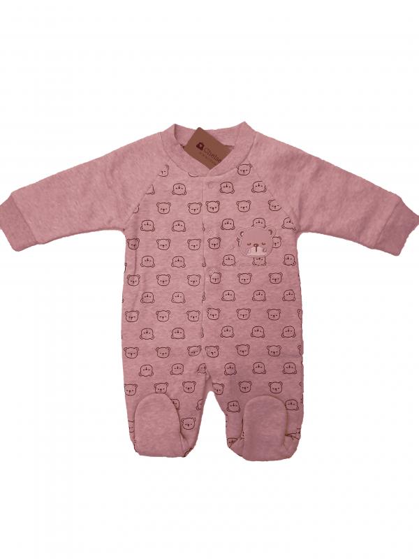 אוברול פוטר תינווקת ורוד דובים