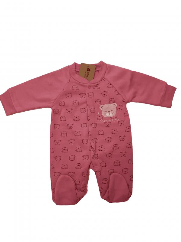 אוברול פוטר תינוקות ורוד כהה דובים
