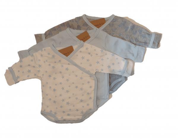 שלישיית בגדי גוף מעטפת 100% כותנה