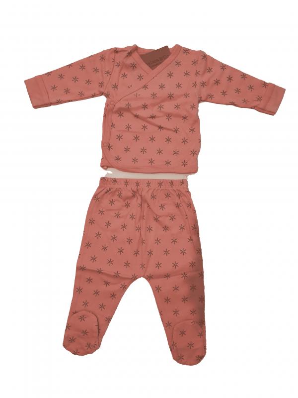 סט חולצת מעטפת+רגלית ורוד בהיר 100% כותנה