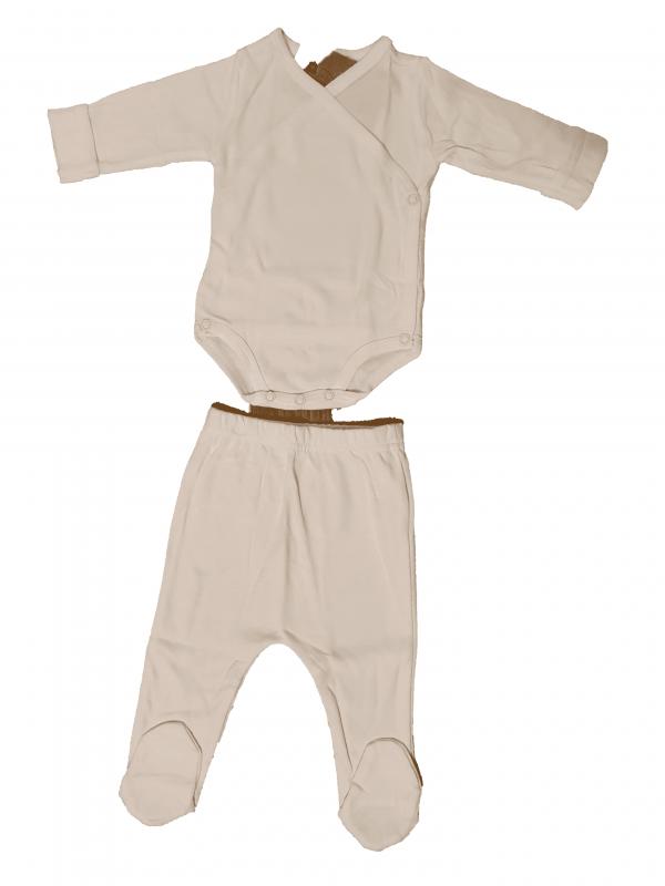 סט בגד גוף ורגליות לבן חלק 100% כותנה