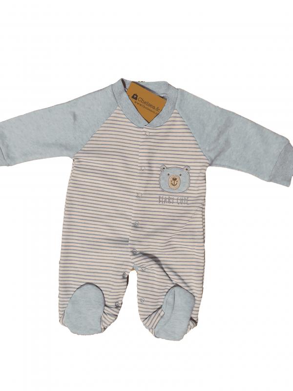אוברול פוטר תינוקות תכלת לבן פסים